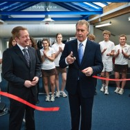 Sir Geoff Hurst opening ceremony ribbon cutting near Bristol