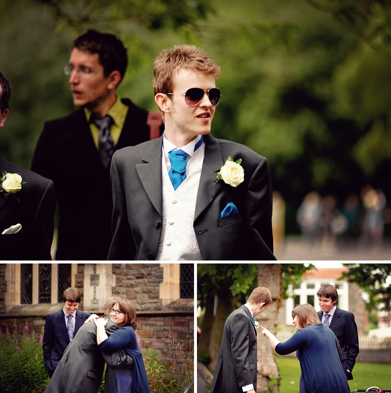 groom in st. andrew's park for bristol wedding
