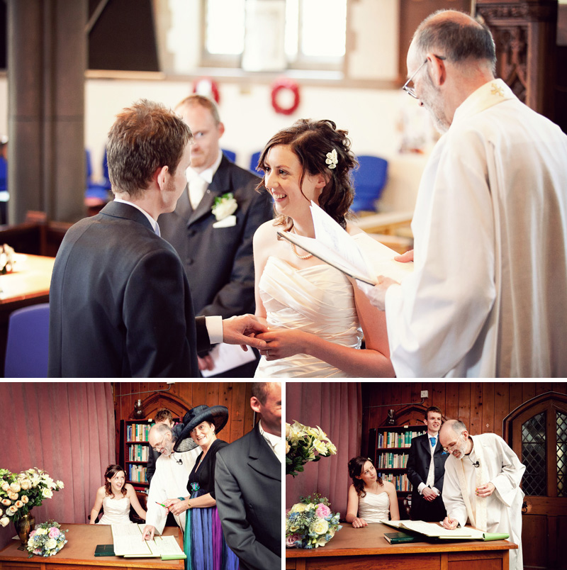 bride and groom exchange vows in st. bartholemew's church, st. andrews bristol