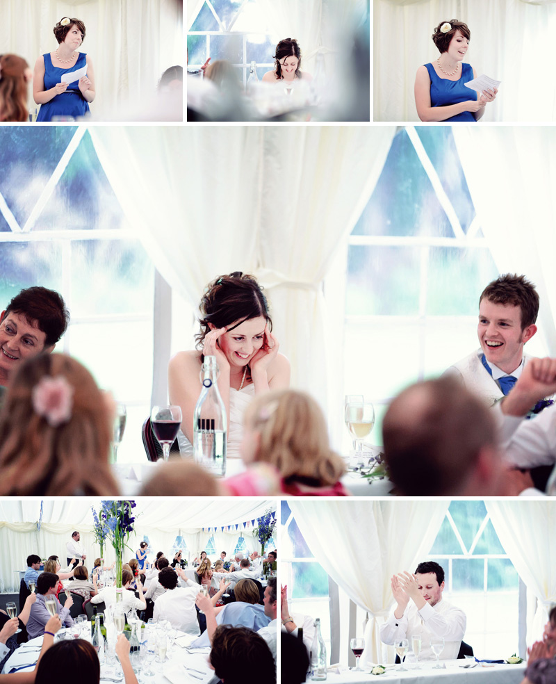 bridesmaid speech in the marquee at tortworth court