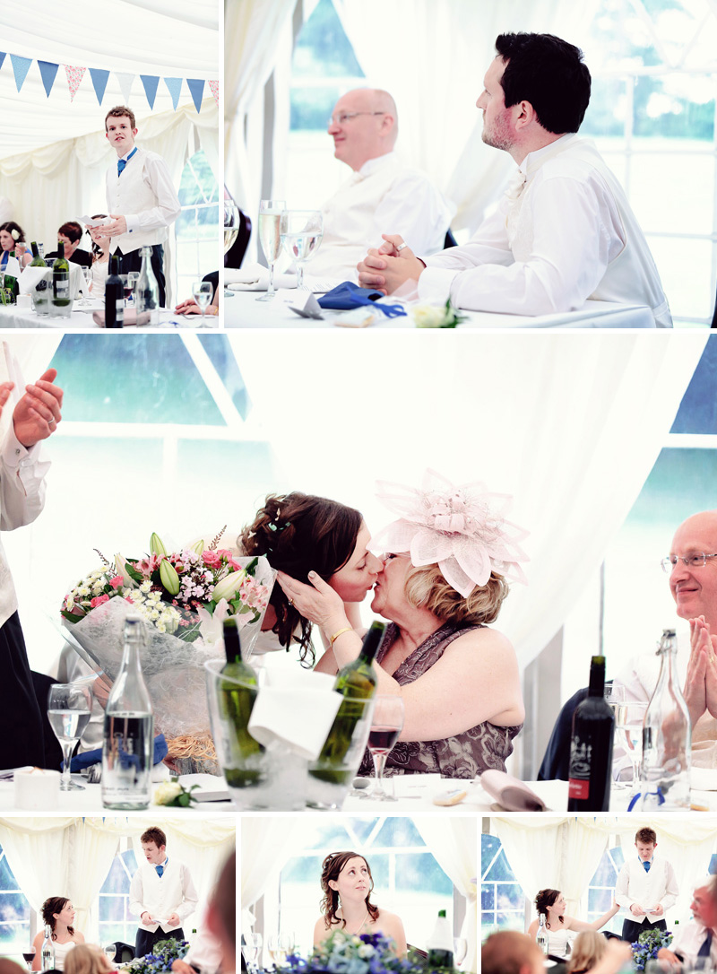 exchanging gifts in the tortworth wedding marquee