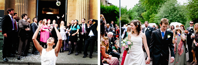 confetti and bouquet toss photos from weddings in bristol