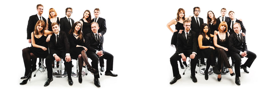 studio shoot in london with swing jazz soul band